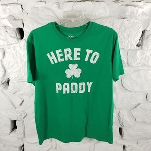"Lucky Tee Shirt Large Green White ""Here To Paddy"""
